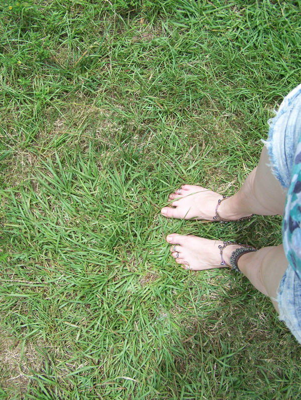 "Barefoot Justine's ""hiking boots."""
