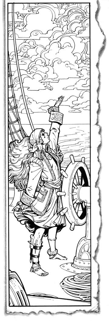 Barefoot Justine WOTC Illustration Pirate Woman