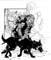 Barefoot Justine WOTC Illustration Warrior Dog