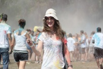 Barefoot Justine (Mara Andersen) enjoying Holi 2014 - pic by Haley Stracher)