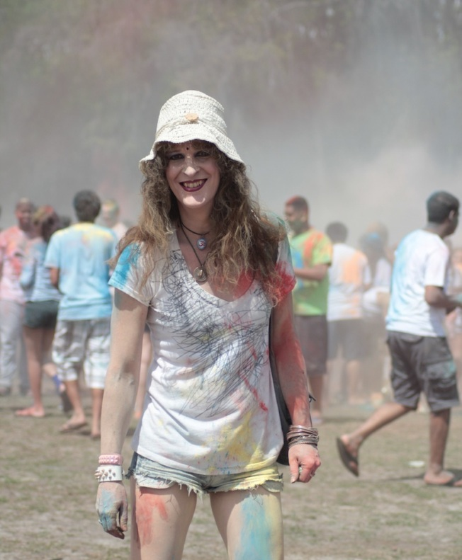 Barefoot Justine (Mara Andersen) enjoying Holi 2014 - pic by Haley Stracher