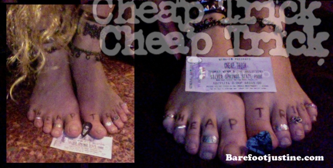(Barefoot) Justine Mara Andersen's feet with concert ticket and souvenir...
